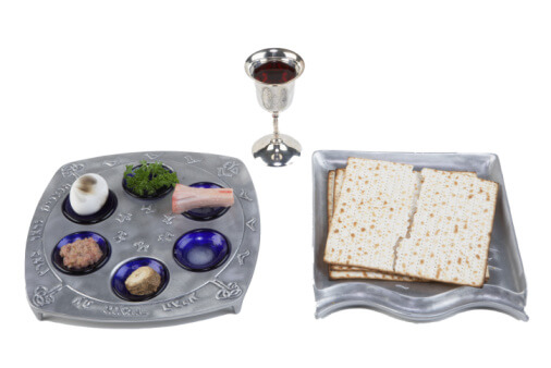 Seder plate, matzo and wine